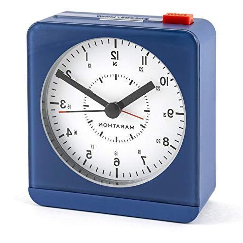 Marathon CL030053BL Classic Silent Sweep Alarm Clock with Au