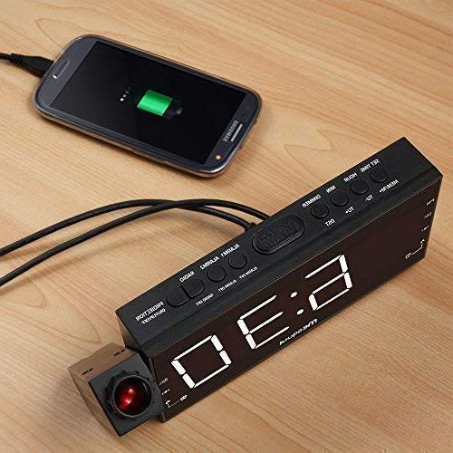 "Mesqool 7"" Clock for Kitchen, Wall, Travel, AM FM Radio, Dual Alarm, USB Port, Battery Setting"