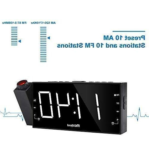 Mesqool Clock for Travel, FM Radio, Dimmer, Dual USB Port, Outlet Powered & Battery Setting
