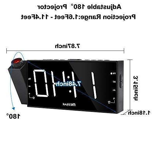 "Mesqool 7"" Clock Kitchen, Desk, Shelf, Wall, Travel, Home AM FM Radio, 3 Dual USB Charging Port, Battery Backup Setting"