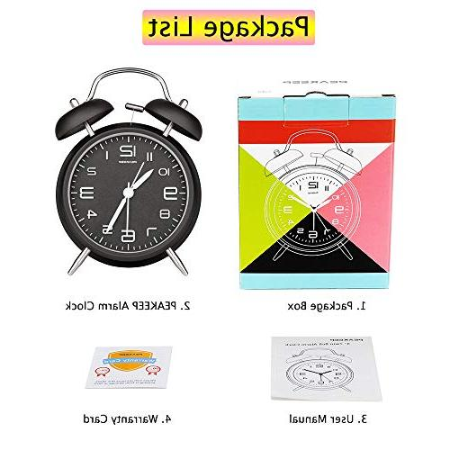 Peakeep Twin Bell Alarm Dial, Backlight, Battery Operated Loud