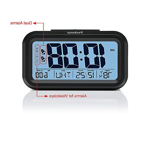 Peakeep Battery Clock with for Optional Mode,Snooze, Night Light