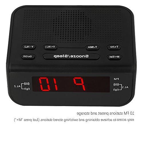 Peakeep Digital FM Alarm Radio Dual Snooze, Timer