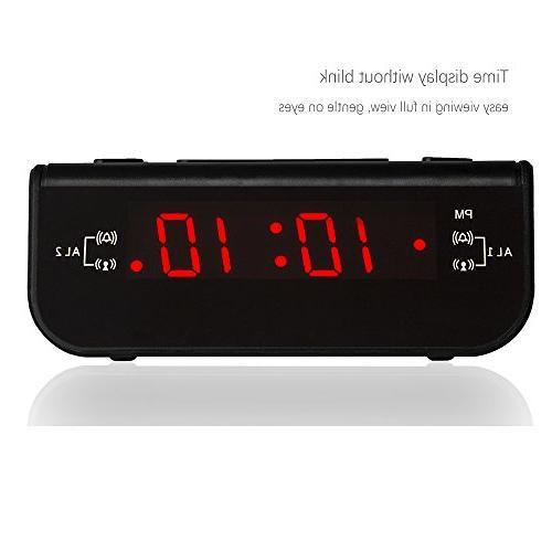 Peakeep Little Digital Alarm Clock Radio Dual Timer and