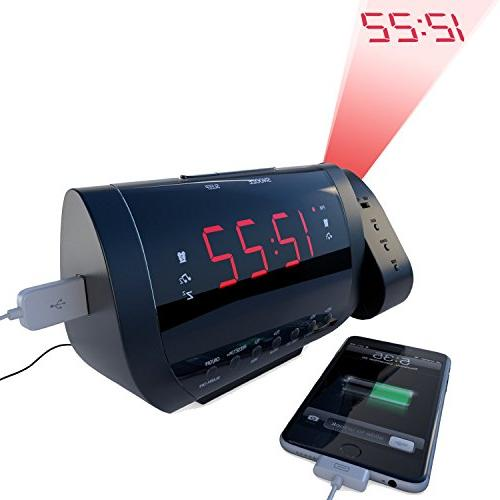 Rated Best Alarm Clock Radio With Time Projection, USB Charg