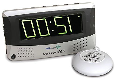 Sonic Boom Vibrating Radio Alarm Clock with AM/FM Radio & Po