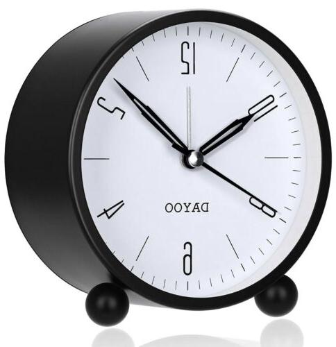 Alarm Round Clock Non Ticking Op...black