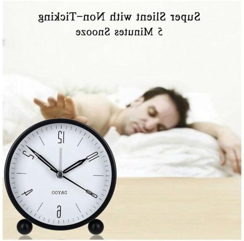 Alarm Clock 4 Inch Round Alarm Clock Ticking with Snooze Op...black