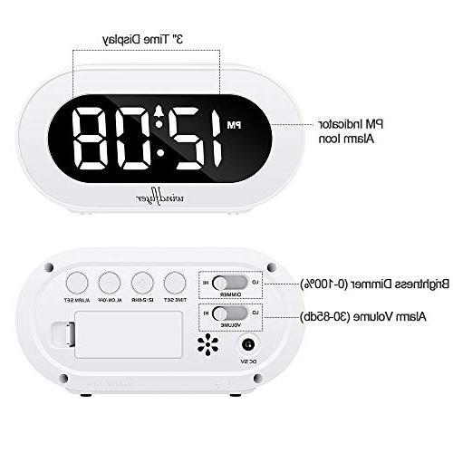 Windflyer Alarm Clock Simple to Range Compact Bedside,