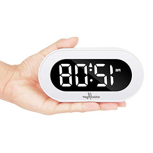 Windflyer Small Alarm with Snooze, Simple Range Alarm Powered Compact Clock Bedrooms, Bedside,