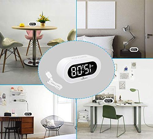 Windflyer Small Digital Alarm Clock Simple Full Range Dimmer, Adjustable Alarm Compact Bedside, Desk,
