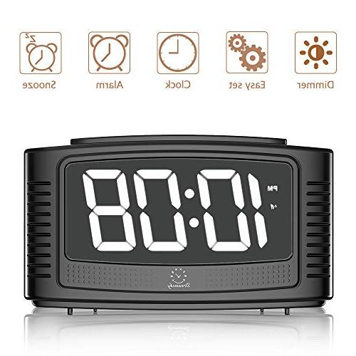 "DreamSky Digital Clock with Snooze, 1.2"" Dimmer, Loud Sound, Simple Operation, DC Powered"