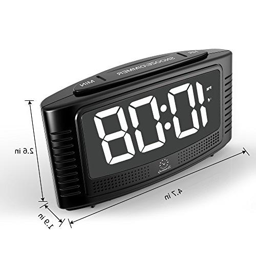 "DreamSky Digital Alarm Clock with Snooze, 1.2"" White Dimmer, Beep Alarm Sound, Simple Powered"