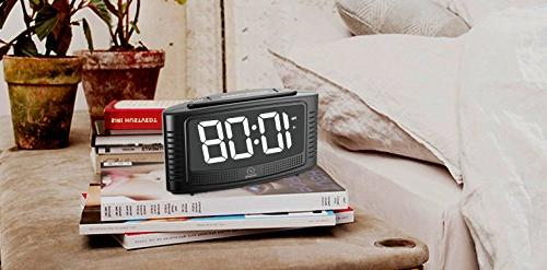 DreamSky Alarm with Snooze, White with Dimmer, Loud Alarm Sound, Simple Powered