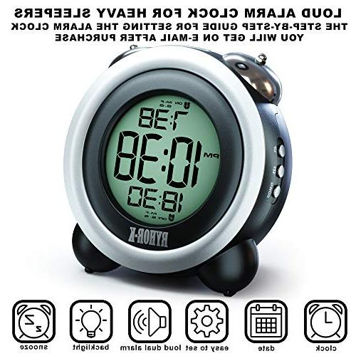 Loud for Heavy Digital Clock for Hearing Easy to Twin LCD Clock