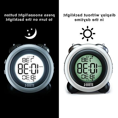 Loud Alarm Heavy - Digital Clock Operated for - Easy to Set Twin Portable LCD Clock for