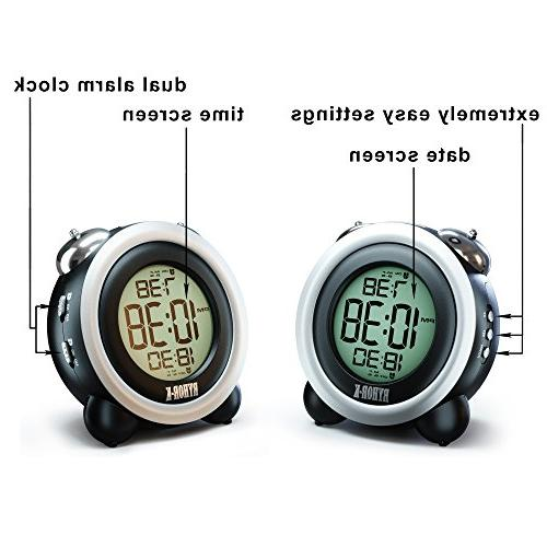 Loud Alarm Heavy Sleepers Digital Clock for Easy to Set Electronic Twin Bell LCD Clock