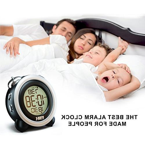 Loud Alarm for Heavy Simple Digital Clock Battery for - Easy to Set Electronic Twin LCD Clock for