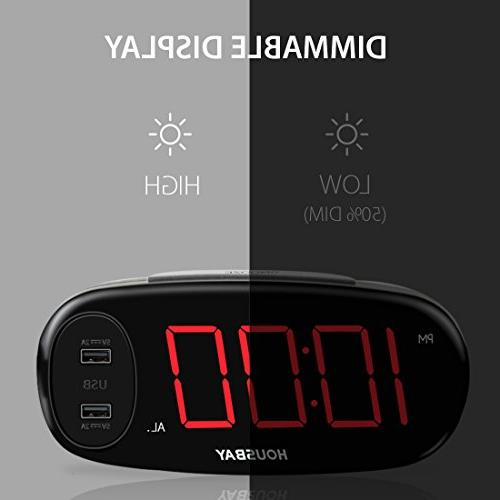 Housbay Digital Clock with Dual No Frills Simple Easy Big LED Alarm Bedrooms with Dimmer, Outlets Powered