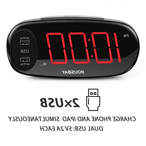 "Housbay Alarm Clock with Dual Easy Snooze, 6.5"" LED Bedrooms with"