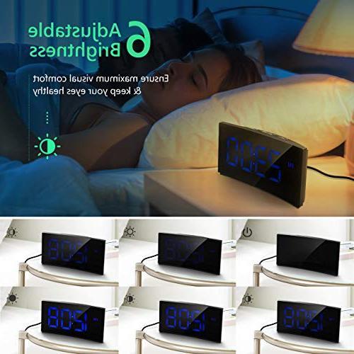 """PICTEK Digital Alarm Clock, 5"""" Curved Dimmable Kids Number 6 Snooze, 12/24 Hour, Port"""