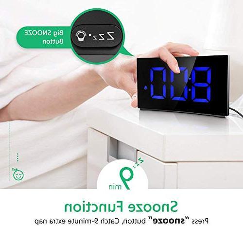 """PICTEK Digital 5"""" LED Screen Clock Kids Bedroom, Number Clock, 6 Snooze, Hour, Port"""