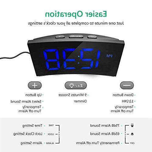 """PICTEK Digital Alarm 5"""" Curved Screen Digital for Kids Large Snooze, USB Port"""