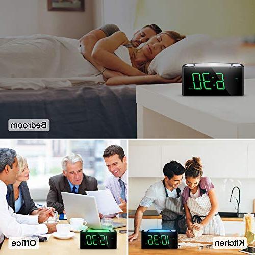 Alarm Clock, Digital LED Display, 7 Dimmer, USB Ports, Loud for Sleeper, Home Office Desk Travel