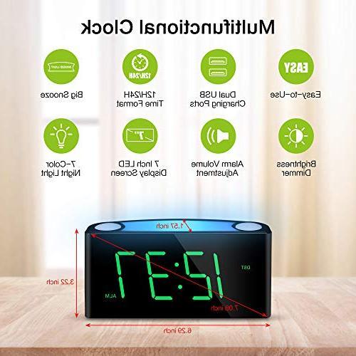 Alarm Large Digital Colored Light, Slider Dimmer, USB Ports, Snooze, Loud Alarm Clock for Office Desk