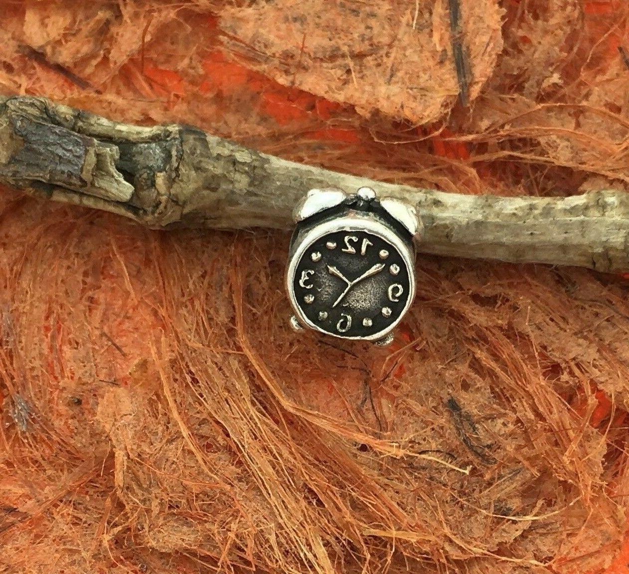 alarm clock bead sterling silver charm