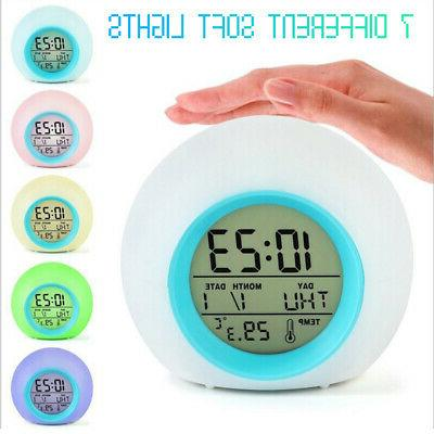 7 Color LED Changing Alarm Clock Night Light  Digital Clocks