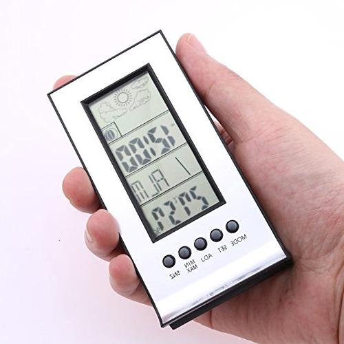 FunnyToday365 Alarm Indoor Thermometer Wireless Weather Snooze Calendar Time Day Clock