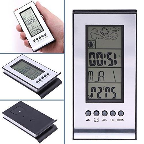 FunnyToday365 Digital Alarm Indoor Outdoor Wireless Weather Station Calendar Day Clock