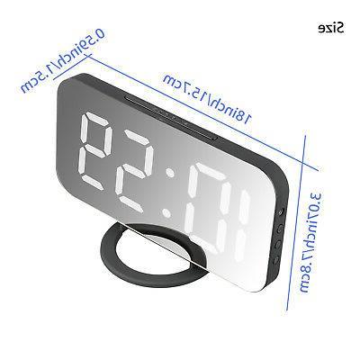 Alarm Clock LED Battery Mirror