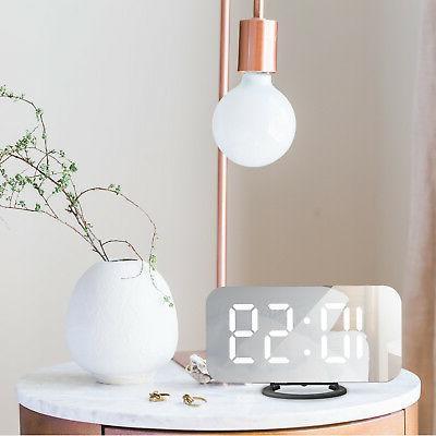 Alarm Large LED Modern Battery Mirror