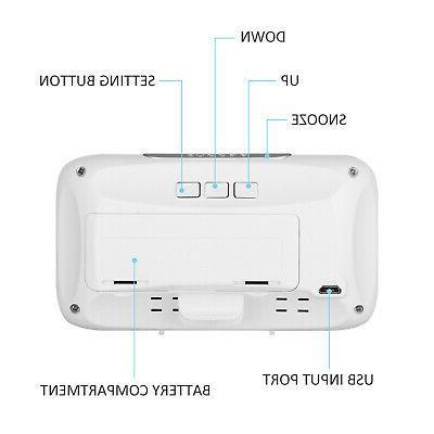 Alarm Large LED Display USB/Battery Sound Bedroom