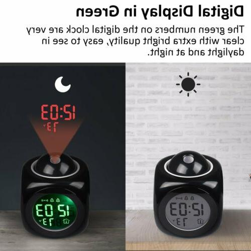 Alarm LED Projection LCD Digital Voice Talking Temperature