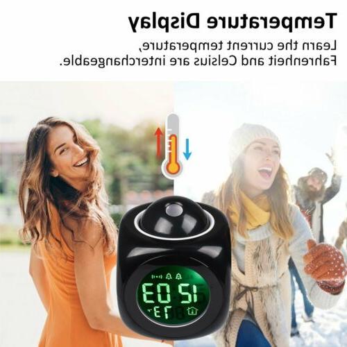 Alarm Clock LED Projection Talking Temperature US