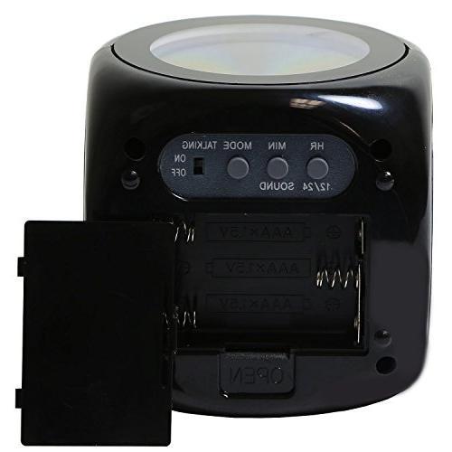 FunnyToday365 Digital Voice Led Projection Alarm Clock Black