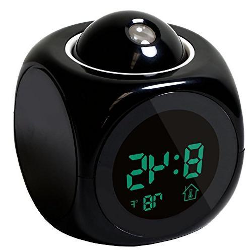 FunnyToday365 Alarm Digital Lcd Led Projection Black