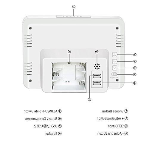 ZHPUAT Clock USB Grades Adjustable Light, Time Bedrooms, White