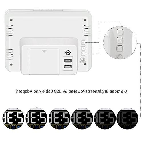 Clock USB Battery Operated, 6 Grades Light, Time Auto Bedrooms,