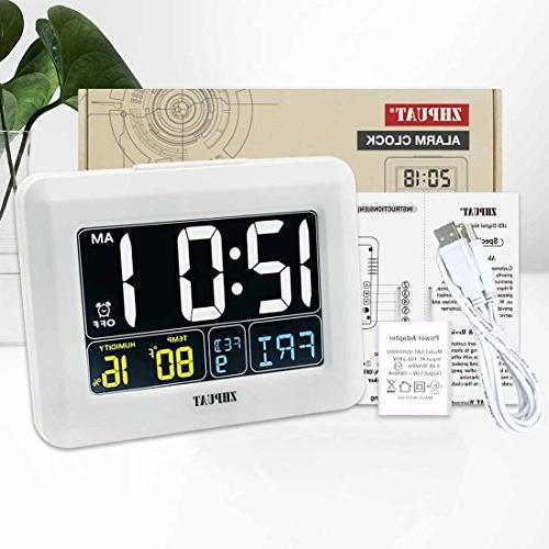 Clock Auto USB Operated, Grades Adjustable Light, 4 Time Zones DST Bedrooms, White