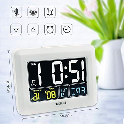 Digital Alarm USB Grades Adjustable Time Zones Bedrooms, White