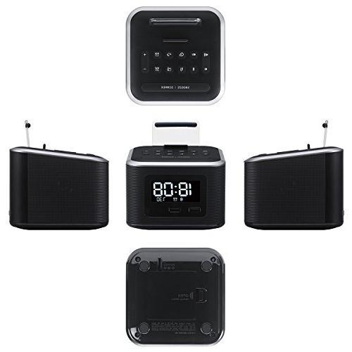 Alarm Clock Radio,Wireless Speaker,Digital Alarm Clock Charger Bedroom with FM Radio/USB and Backup