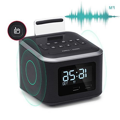 Alarm Radio,Wireless Speaker,Digital Clock USB Charger for FM and Backup