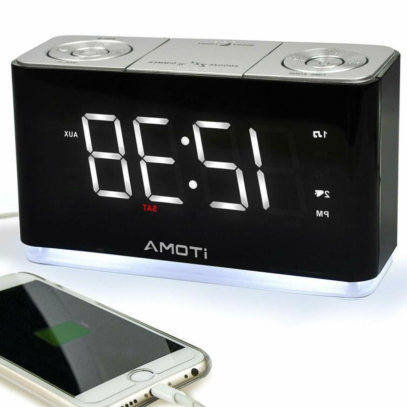 iTOMA Alarm Clock Radio, Digital FM Radio, Dual Alarm, Cell