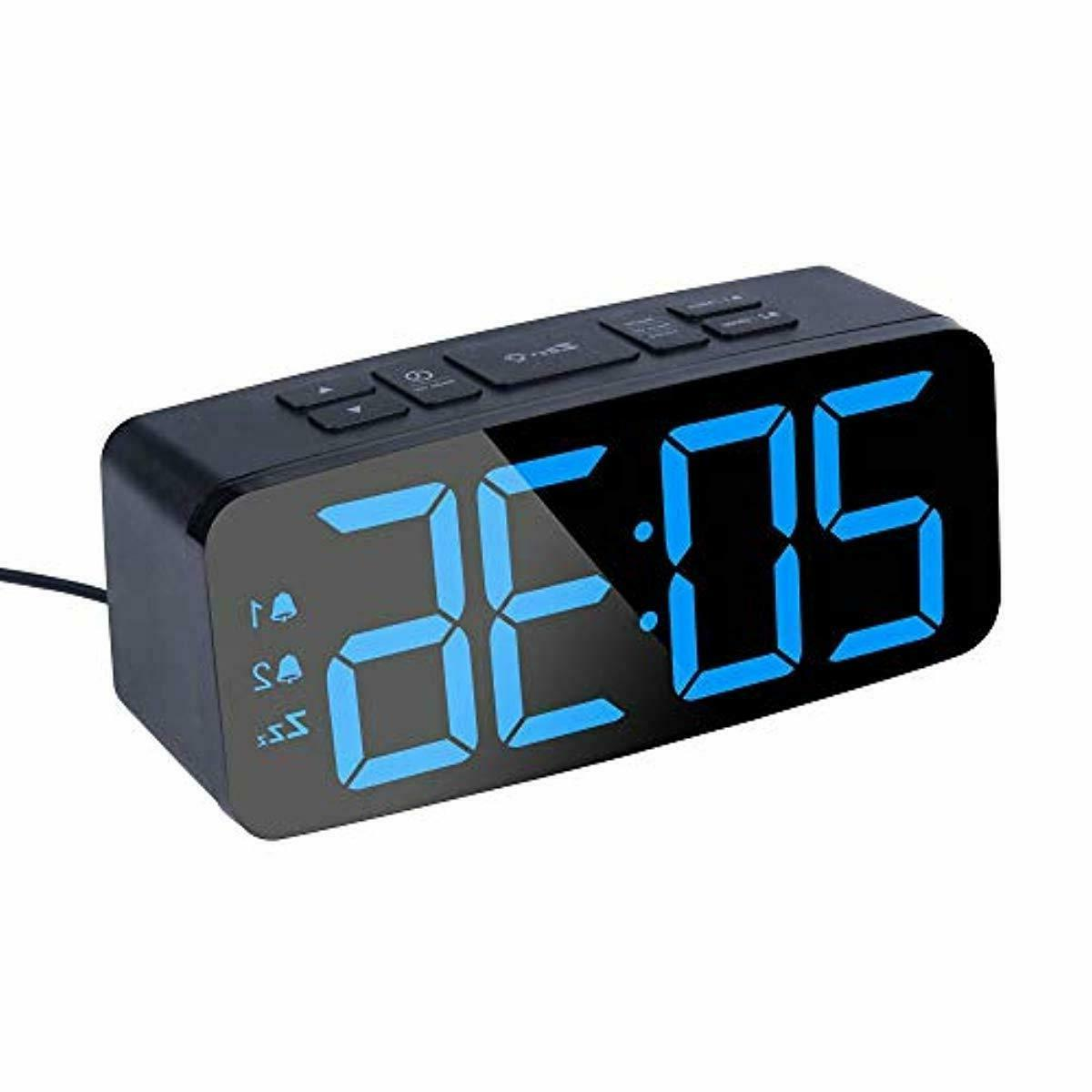 Digital Alarm Clock with USB Charger Brightness Bedroom