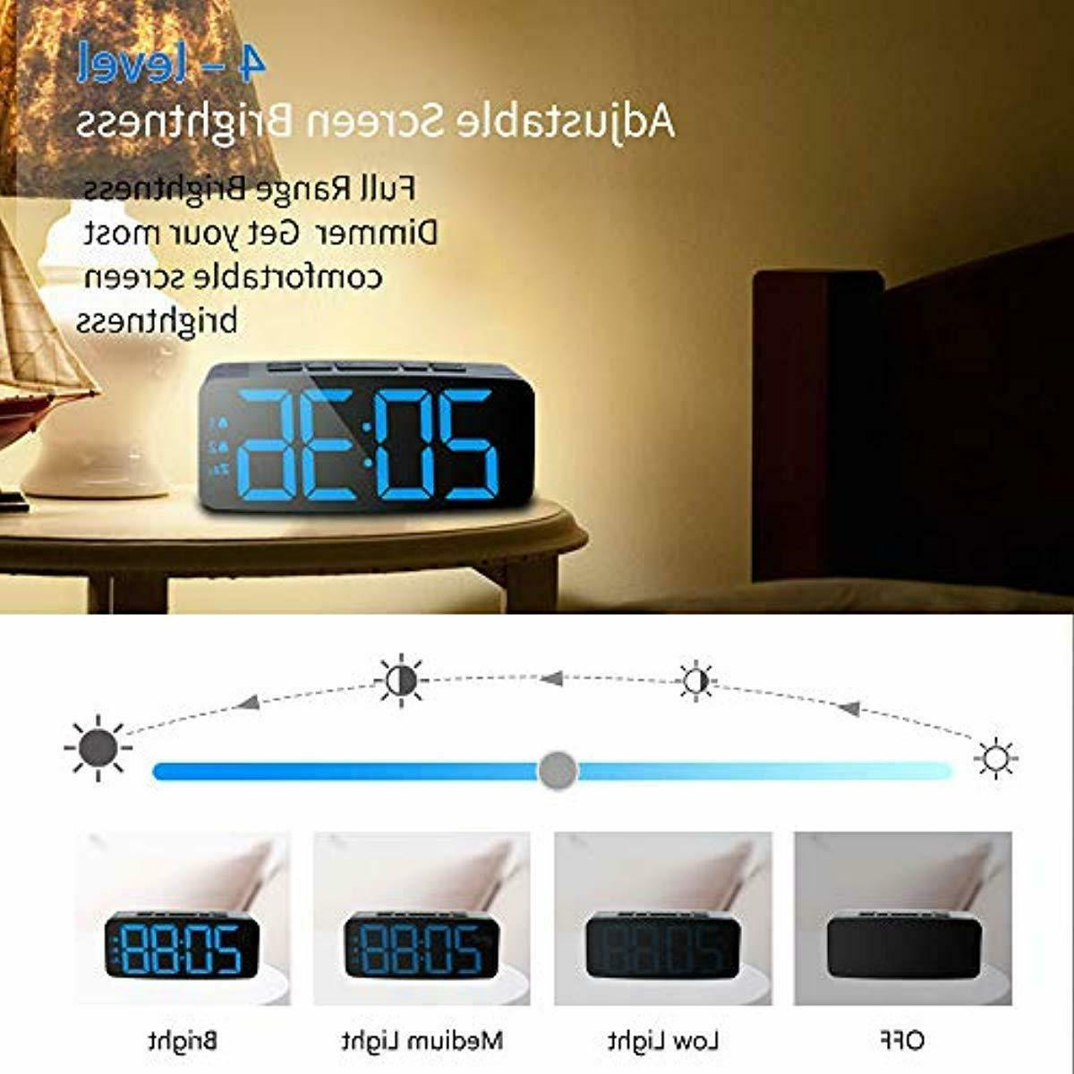 Digital Alarm Clock with USB Charger Port, Brightness