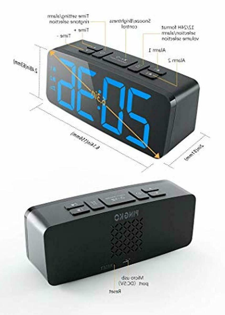 Digital Clock USB Port, Adjustable Brightness